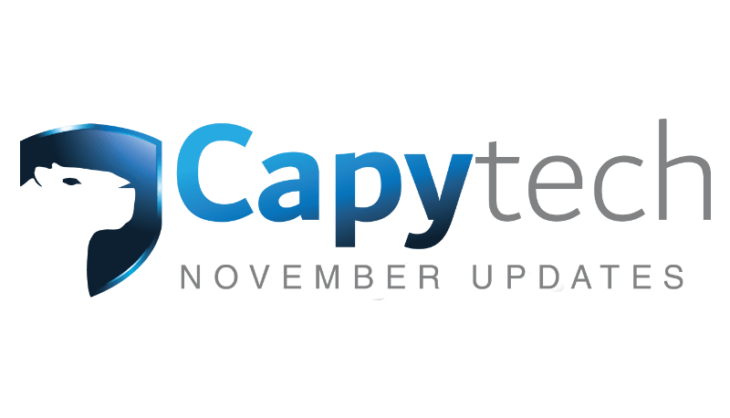 November Updates 2 min - Capytech Updates - November 2017